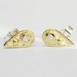 Silver & 18ct. gold Studs.